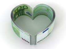 Money. Heart. Money on white background. Heart. 3d stock illustration