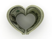 Money. Heart. Money on white background. Heart. 3d Royalty Free Stock Photo