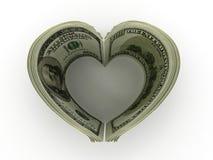 Money. Heart. Money on white background. Heart. 3d royalty free illustration