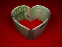 Money. Heart. Money on red background. Heart. 3d Stock Photography