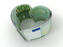 Money. Heart. On white background. 3d Stock Photos