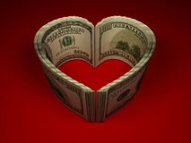 Money. Heart. On red background. 3d Royalty Free Illustration