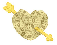Money heart with arrow Stock Image