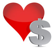 Money heart currency illustration Stock Photography