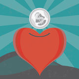 Money for a heart. Illustration of the concept of a heart moneybox, or money for love. The grunge texture is removable from the background Royalty Free Stock Photography