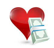 Money heart illustration design Stock Image