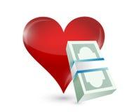 Money heart illustration design. Over a white background stock illustration