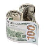 Money heart isolated on white background Royalty Free Stock Photos