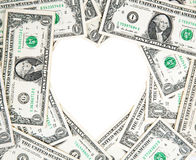 Money heart. Made of one dollar bills Royalty Free Stock Photos