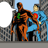Money Heroes in the city with speech bubble Royalty Free Stock Photography