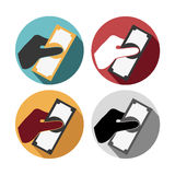 Money holding pay set icons Stock Image