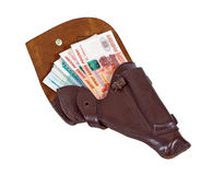 Money in the holster Stock Photo