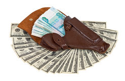 Money in the holster Stock Photos