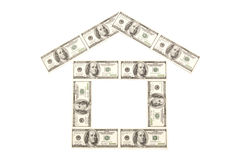 Money home. House made from denomination of 100 dollars Stock Photo