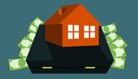 Money for home - bag Stock Images