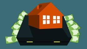 Money for home - bag. Target saving money for buy house ,house on bag Stock Images