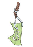 Money_on_hook Foto de Stock Royalty Free