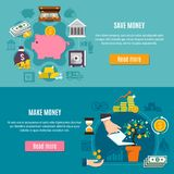 Money Flat Banner Set. Money horizontal and flat banner set with save and make money descriptions and read more buttons vector illustration Royalty Free Stock Photo