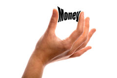 Money. Horizontal shot of two fingers squeezing the word Money between two fingers, isolated on white Royalty Free Stock Images
