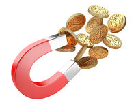 Money horseshoe magnet attracting gold dollar coins. Stock Photo
