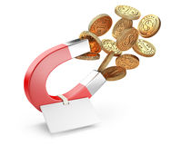 Money horseshoe magnet attracting gold dollar coins with tag. Stock Photo
