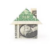 Money Hosue. A dollar bill folded into a house Stock Photos