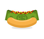 Money hot dog. Bun and stack cash. Financial fast food. Morning. Breakfast for wealthy. Dollars with mustard and ketchup royalty free stock image