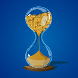 Money hourglass sand. Hourglass with coins. Time is money concept. Icon. Game.  Illustration Vector Royalty Free Stock Images