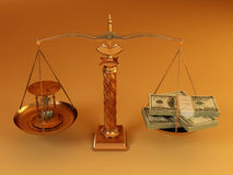 Money and hourglass on scale. Time is money. Money and hourglass on scale. 3d stock illustration