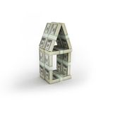 Money house. Build on white isolated. 3d render Royalty Free Stock Image