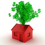 Money House. 3D render of dollar signs coming out of a chimney Stock Photography