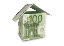 Money House. House made of a hundred euro bill. Isolated on white Royalty Free Stock Photography