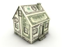 Money house. House made of 100 us dollar bills Stock Images