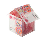 Money house. House made of Chinese money, isolated on white Royalty Free Stock Images
