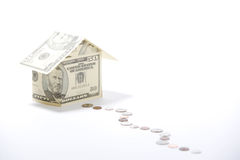 Money House. A house made of fifty dollar bills Royalty Free Stock Image