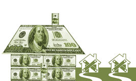 Money House. Symbolic of the mortgage crisis in USA Stock Photos