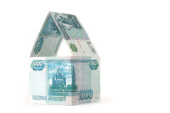 Money house. Isolated on white Royalty Free Stock Photos