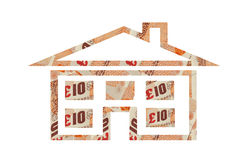 Money House. Outline showing money at the windows Stock Photography