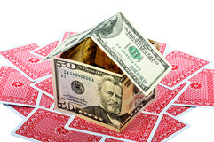Money House And Cards Stock Photography