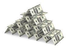 Money house of cards. House of cards made out of 100 dollar bills Royalty Free Stock Images