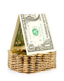 Money house with coin isolated over white Stock Image
