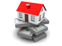 Money for house. 3d illustration of money for home concept Stock Image