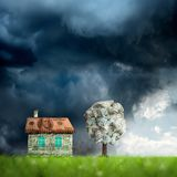 Money house on green landscape. Conceptual image of money house on green landscape royalty free stock photography