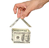 Money house in hand Stock Image