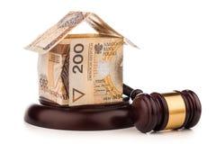 Money house  and judge gavel isolated on white Stock Photos