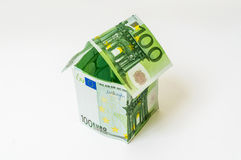 Money house made from euro banknotes Royalty Free Stock Photo