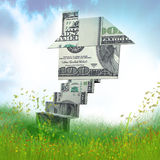 Money house origami in the meadow. Money house origami 3d illustration Stock Photography