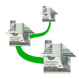 Money house origami network Royalty Free Stock Images