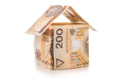 Money house on a white background Stock Images