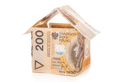 Money house on a white background Royalty Free Stock Images